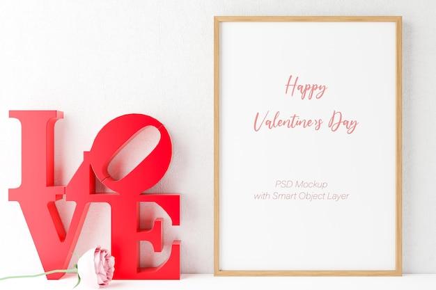 Любовь и день святого валентина с макетом фоторамки