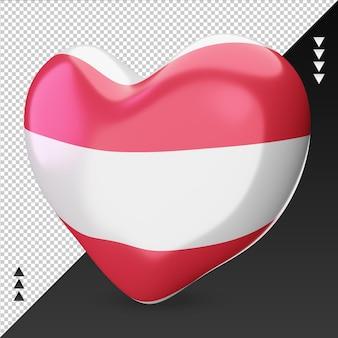 사랑 오스트리아 국기 난로 3d 렌더링 오른쪽 보기