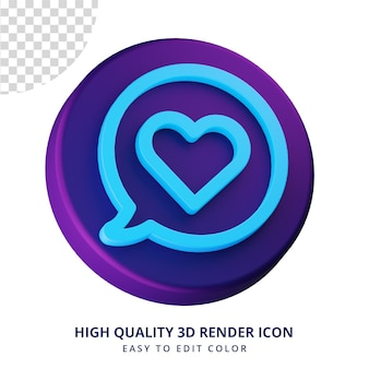 Love chat icon in 3d rendering isolated concept for ui design