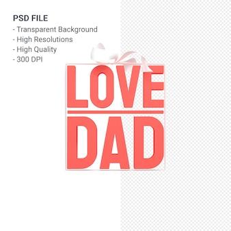 Папа любви с бантом и лентой 3d-рендеринга изолированные
