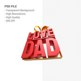 Love dad with bow and ribbon 3d rendering isolated