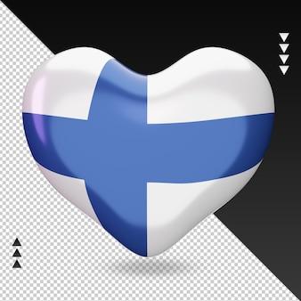 사랑 핀란드 국기 난로 3d 렌더링 전면 보기