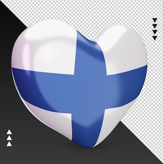 사랑 핀란드 국기 난로 3d 렌더링 왼쪽 보기