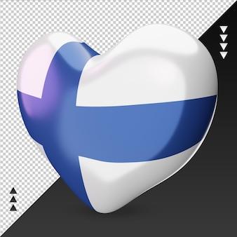 사랑 핀란드 국기 난로 3d 렌더링 오른쪽 보기