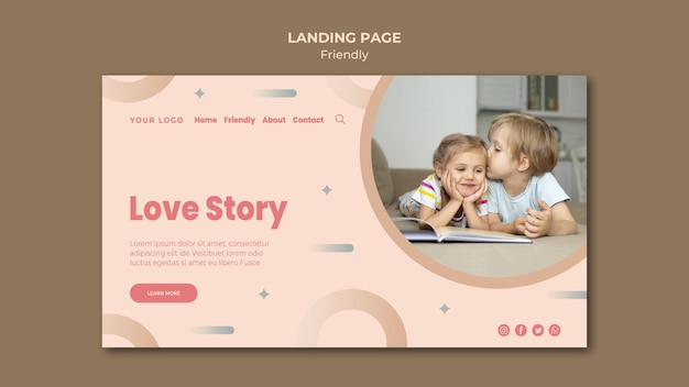 Love friendship story landing page template