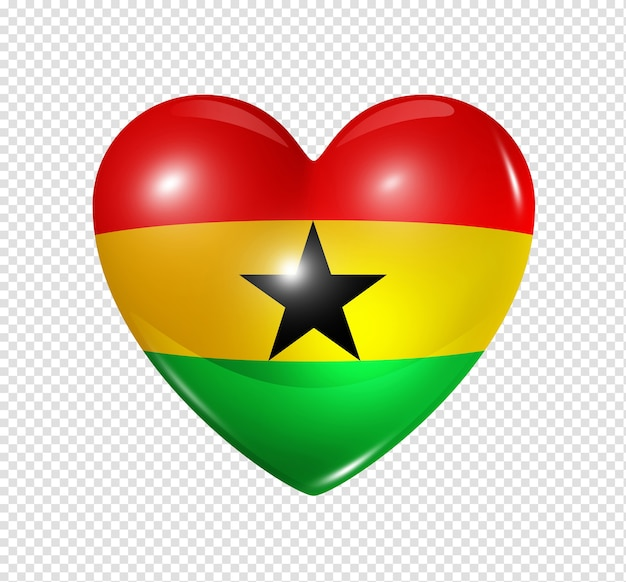 Love ghana symbol 3d heart flag icon