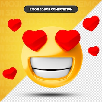 Сердце любви смайлики 3d визуализации для композиции