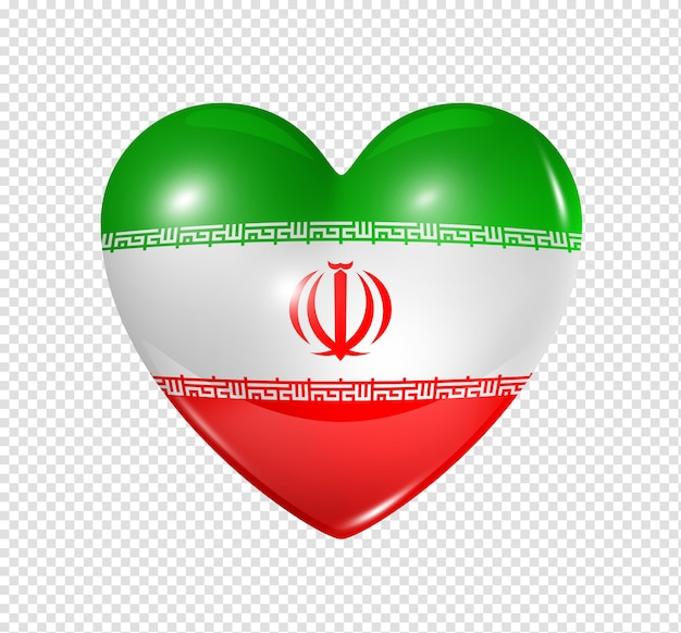 Love iran symbol  3d heart flag icon isolated on white with clipping path