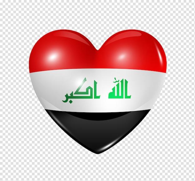 クリッピングパスを白で隔離されるイラクのシンボル3 dハートフラグアイコンが大好き