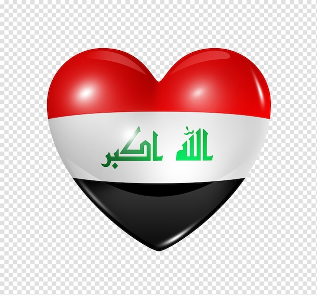 Love iraq symbol  3d heart flag icon isolated on white with clipping path