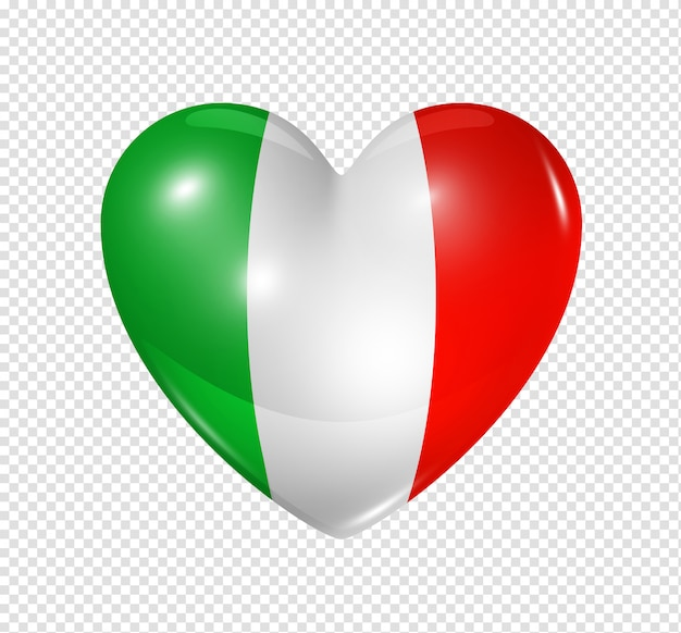 Love italy, heart flag icon