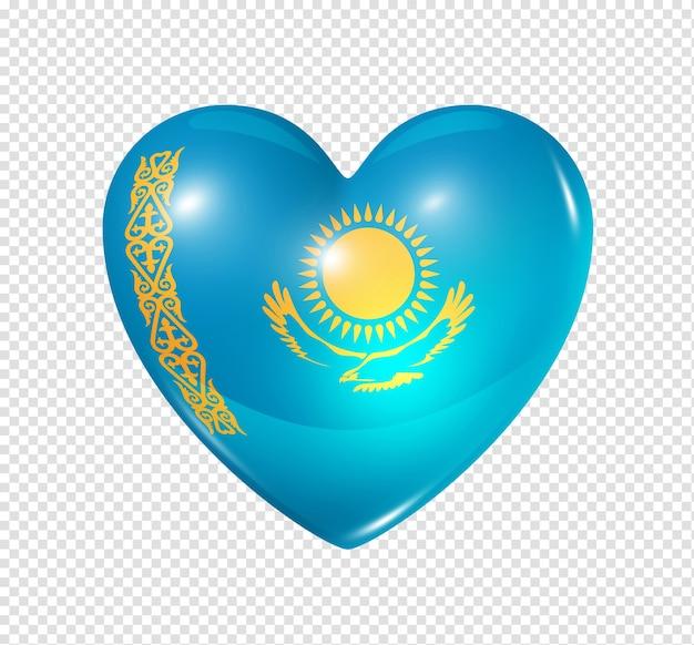 Любовь казахстан символ 3d значок флага сердца, изолированные на белом с обтравочный контур