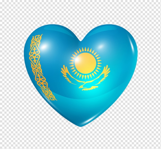 Love kazakhstan symbol  3d heart flag icon isolated on white with clipping path
