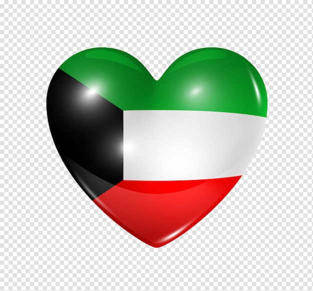 Love kuwait symbol  3d heart flag icon isolated on white with clipping path