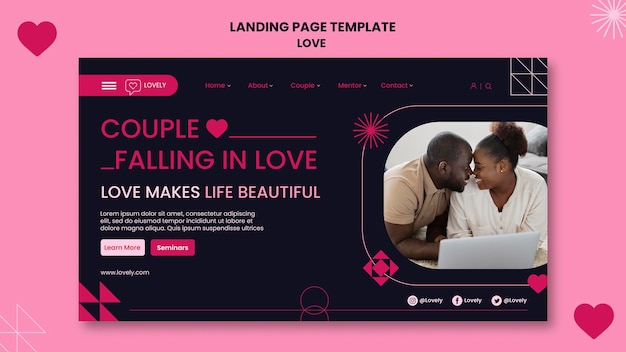 Love landing page with photo