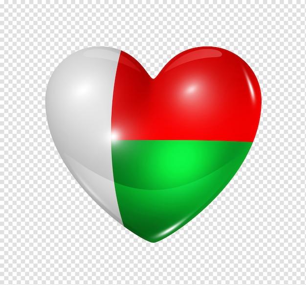 Любовь мадагаскар символ 3d сердца с изолированным дизайном флага