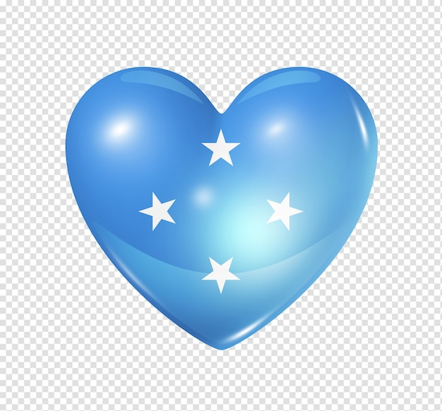 Love micronesia symbol of a 3d heart with flag design isolated