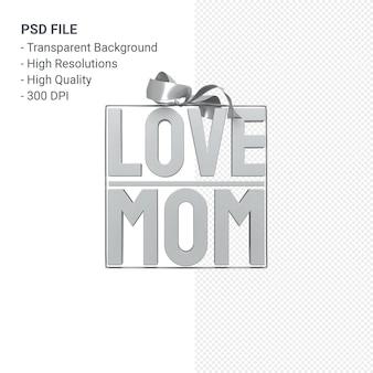 활과 리본 3d 렌더링 절연 사랑 엄마 프리미엄 PSD 파일