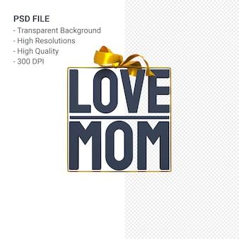Любовь мама с бантом и лентой 3d-рендеринга изолированные