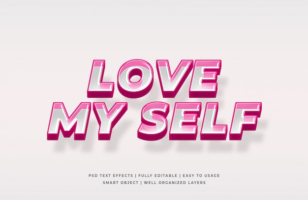 Love my self 3d text style