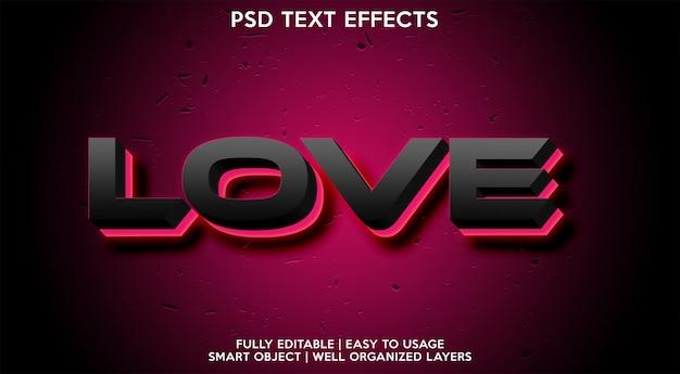 Любовь неоновый текстовый эффект