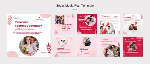사랑 팟 캐스트 소셜 미디어 게시물 템플릿