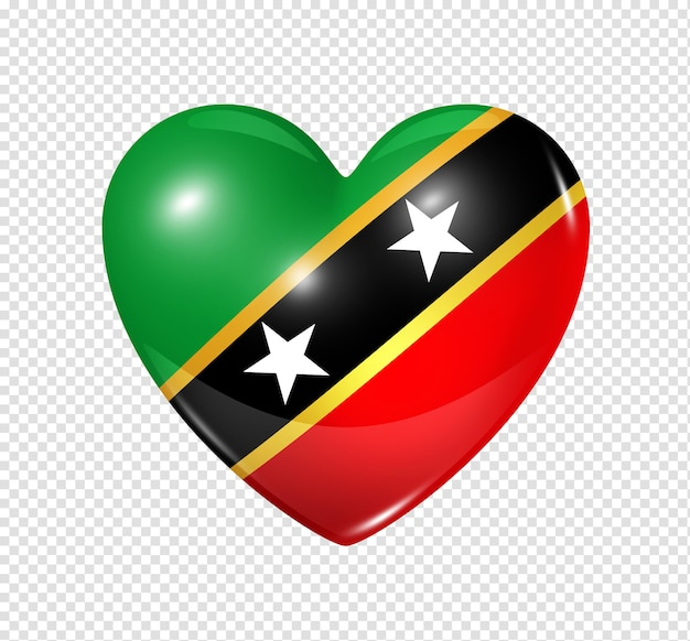 Love saint kitts and nevis symbol 3d heart flag icon isolated on white with clipping path