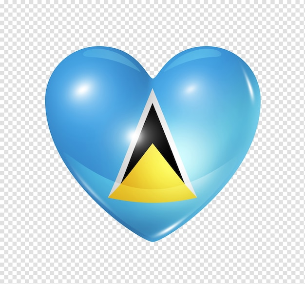 Love saint lucia symbol 3d heart flag icon isolated on white with clipping path