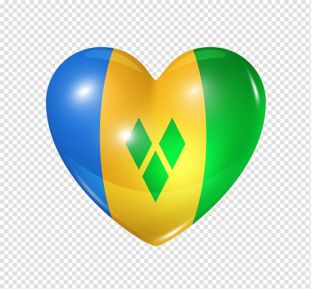 Love saint vincent and the grenadines symbol 3d heart flag icon isolated on white with clipping path