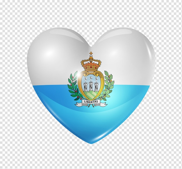 Love san marino symbol 3d heart flag icon isolated on white with clipping path
