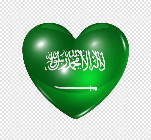 Love saudi arabia symbol 3d heart flag icon isolated on white with clipping path