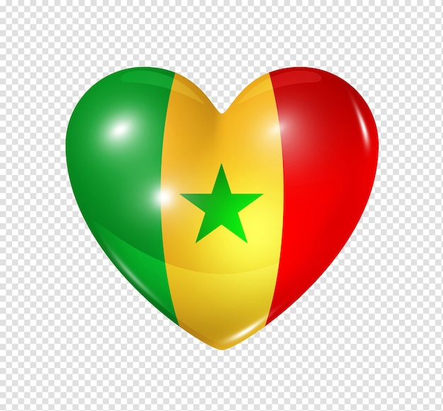 Love senegal symbol 3d heart flag icon isolated on white with clipping path