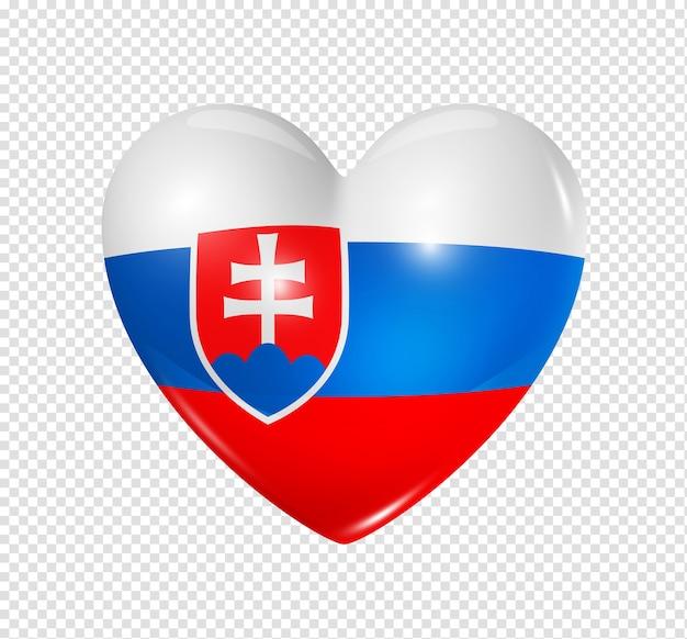 사랑하는 슬로바키아 기호 3d 심장 플래그 아이콘 클리핑 패스와 함께 흰색 절연