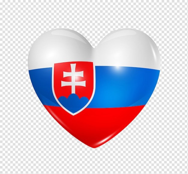 Love slovakia symbol 3d heart flag icon isolated on white with clipping path