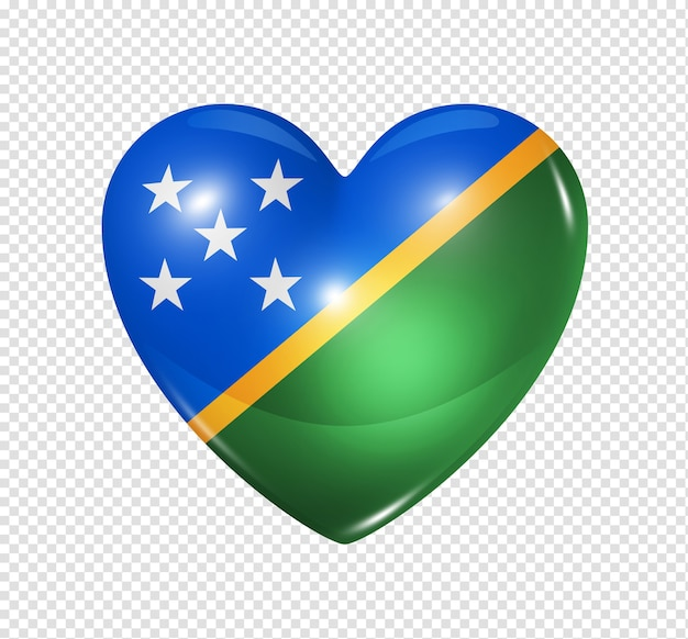 Love solomon islands symbol 3d heart flag icon isolated on white with clipping path