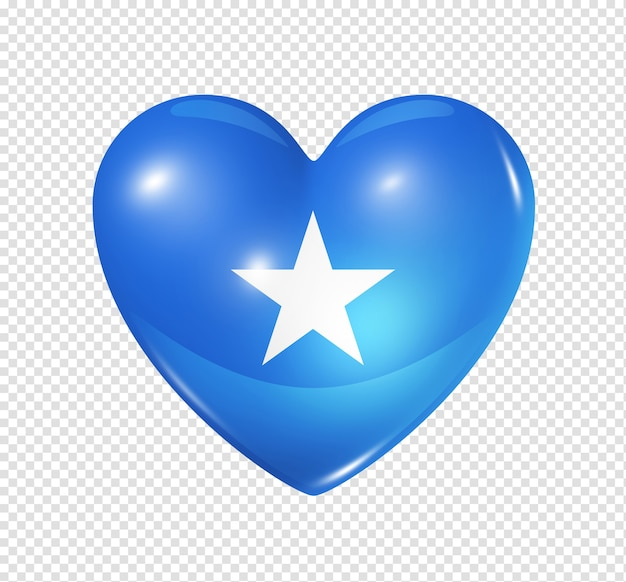 Love somalia symbol 3d heart flag icon isolated on white with clipping path