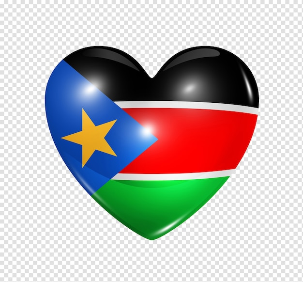 Love south sudan symbol 3d heart flag icon isolated on white with clipping path