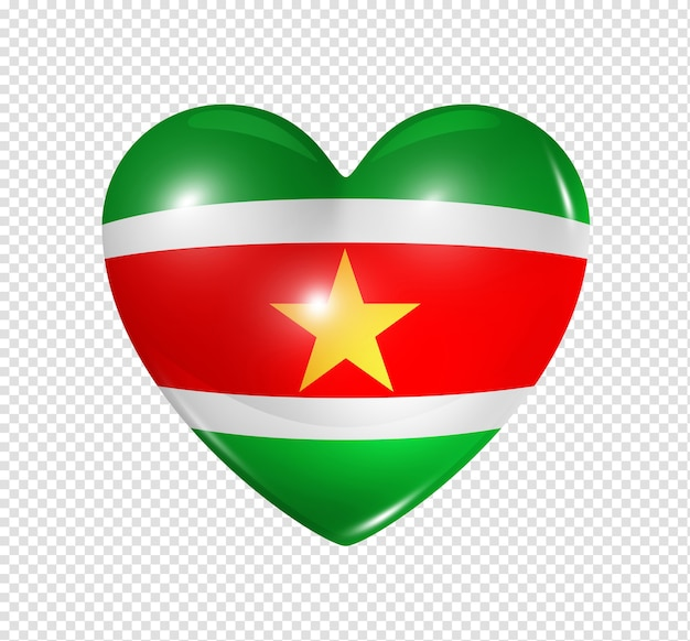 Love suriname symbol 3d heart flag icon isolated on white with clipping path