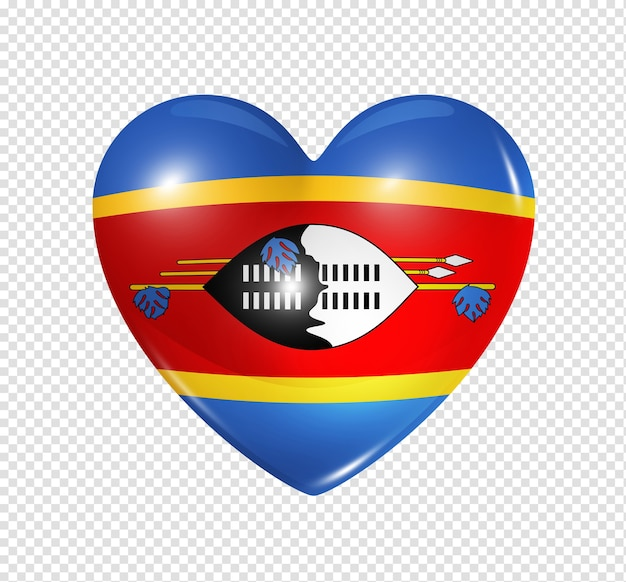 Love swaziland symbol 3d heart flag icon isolated on white with clipping path