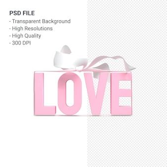 활과 리본 3d 렌더링 절연 사랑 텍스트