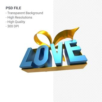 Любовь текст с бантом и лентой 3d-рендеринга изолированы