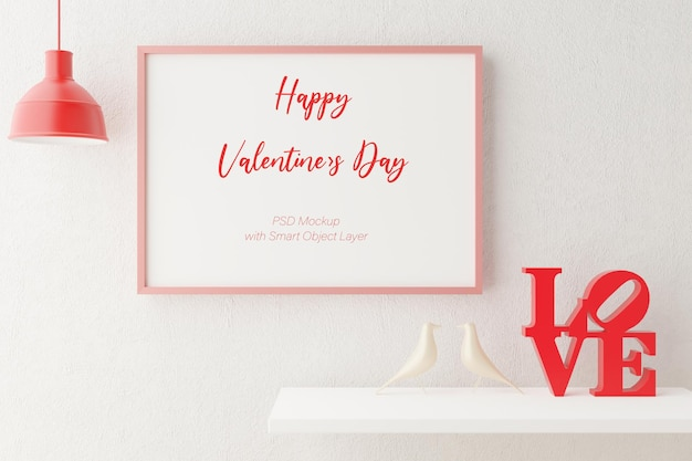 Love and valentine's day with photo frame mockup in 3d rendering