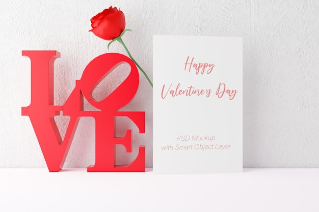 Love and valentine's day with photo frame mockup