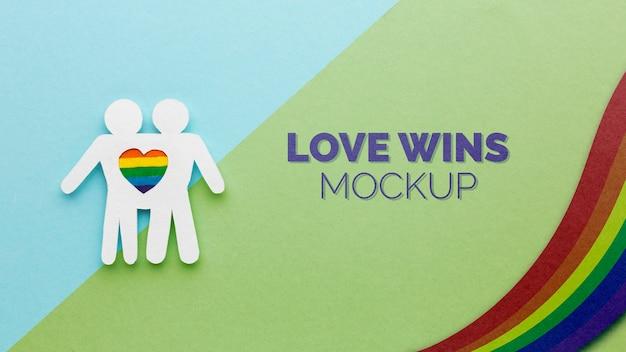 Любовь побеждает с радугой за гордость