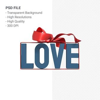 활과 리본 3d 렌더링 절연 사랑 단어