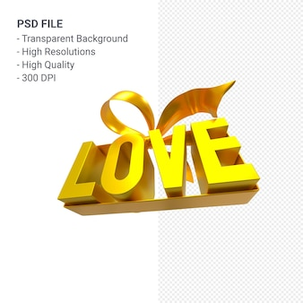 Слово любви с бантом и лентой 3d-рендеринга изолированные
