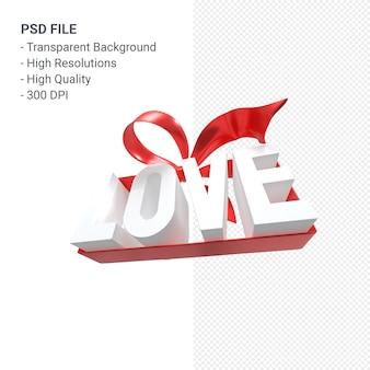 Слово любви с бантом и лентой 3d-рендеринга изолированные Premium Psd