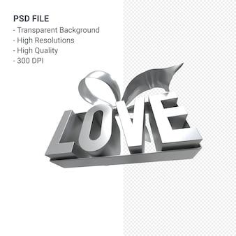 Любовь формулировка с бантом и лентой 3d-рендеринга изолированные