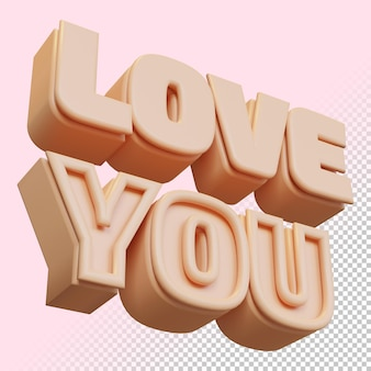 Love you 3d render bold letter isolated in 3d rendering
