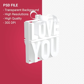 활과 리본 3d 디자인 절연으로 당신을 사랑합니다